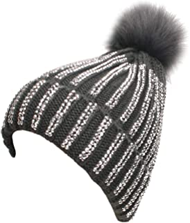SP Sophia Collection Sparkly Silver Rhinestone Studded Striped Winter Cozy Beanie with Faux Fur Pom Pom