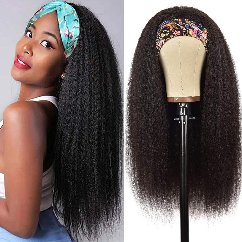 Rismale Headband Wig Kinky Straight Human Wo 2021 new Wigs Hair Black Very popular for