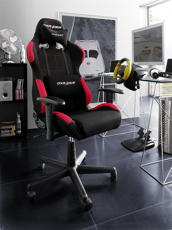 DXRacer - Original DX Racer Bürostuhl F-Serie Oh fd01 nr schwarz - rot mit zustzlichem gratis-Set Hartbodenrollen