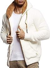 Leif Nelson Heren sweatjack teddy fleece jas met capuchon vrijetijdsjas voor mannen met capuchon hoodie overgangsjas LN20115
