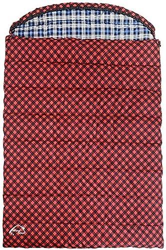 YHEGV Couple Double Sac de Couchage pour Camping Léger Compact Chaud Confortable Tapis de Sol intérieur Convient aux Adultes Randonnée Sac à Dos Alpinisme Activité de Plein air Rouge (Taille  3,2