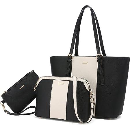 LOVEVOOK Handtasche Damen Gross Handtaschen Set Taschen groß Handtaschen für Frauen Damen-henkeltaschen Shopper Schultertasche (a Schwarz Beige Schwarz)