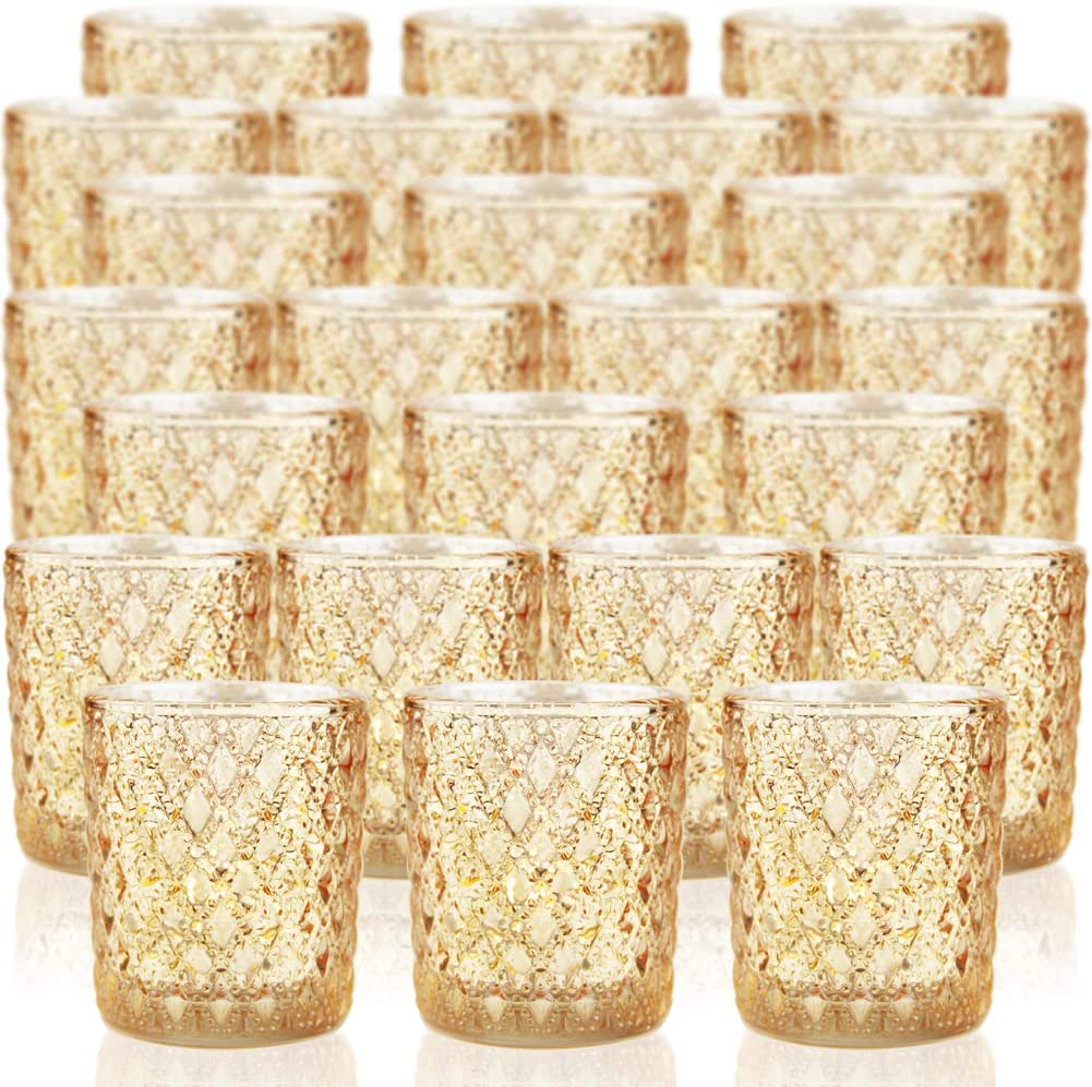 SHMILMH Gold Votive Candle Holders Set Glass Virginia Beach Mall Mercury Max 78% OFF 24 of Teal