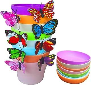 QUIET 8 Colors Cute Mini Colorful Plastic Flower Pots Planters With Saucers,Seedlings Flower &Seeds Germination & Succulent Plants Pots