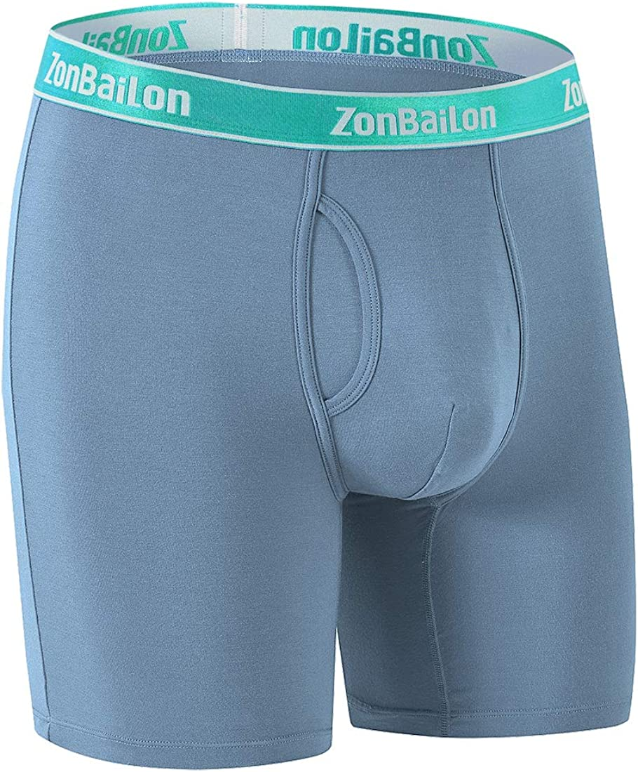 ZONBAILON Mens Boxer Briefs Open Fly Bulge Pouch Bamboo Breathable Underwear