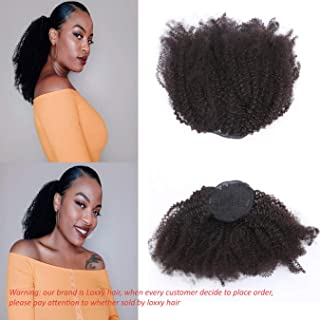 Loxxy Afro Kinky Curly 3C 4A Human Hair Ponytail With Drawstring Kinky Ponytail Natural Hair Extensions Ponytail For American and Africa Black Women 18 Inch