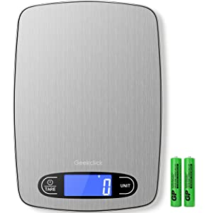 Geekclick Food Scale, Kitchen Scale Digital Weight Grams and oz, Food Weight Scale for Weight Loss, Cooking, Baking and Meal Prep, Measuring Tools 1g/0.05oz Precise Graduation, Sleek Stainless Steel
