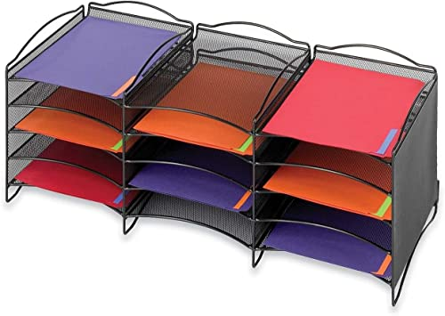 Onyx Steel Mesh Lliterature Sorter, 12 Compartments, negro, Sold as 1 Each