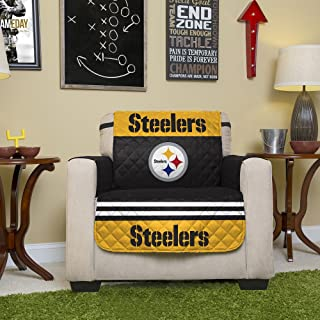 NFL Pittsburgh Steelers Chair Reversible Furniture Protector with Elastic Straps, 75-inches by 65-inches