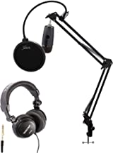 Blue Yeti Nano Premium USB Microphone (Shadow Gray) with Tascam TH-03 Closed Back Over-Ear Headphones, Knox Gear Boom Scissor Arm and Knox Gear Pop Filter