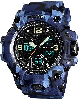 Mens Analog Digital LED 50M Waterproof Outdoor Sport Watch Military Multifunction Casual Dual Display 12H/24H Stopwatch Calendar Wrist Watch