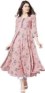 Tissu Women Dusty Pink & Red Floral Printed A-Line Kurta