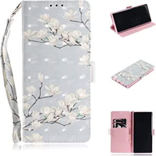 Galaxy Note 9 Case, ZERMU 3D Painted Pattern Premium PU Leather Shockproof Kickstand Flip Folio Wallet Case with Card Holder ID Slot and Hand Strap Magnetic Closure Case for Samsung Galaxy Note 9 6.4