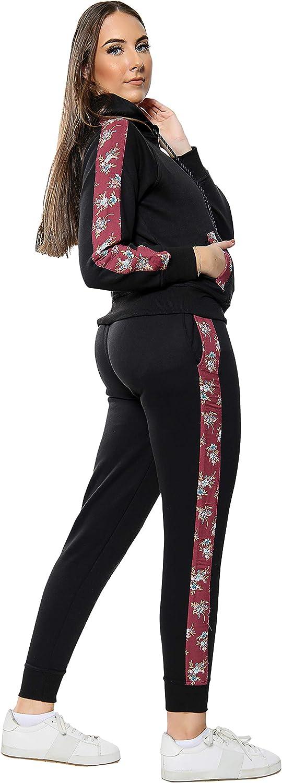 Sudadera con Cremallera Fondos para Gimnasio y Ciclismo Love My Fashions/® Mujer Chandal Lana Floral Panel Lateral Trotar Conjunto de Traje Se/ñoras Casual Acanalada Dobladillo Pu/ños Desgastar