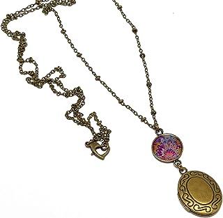 Collana porta foto titolare piuma blu rosa ottone bronzo regali personalizzati regalo di Natale amici mamma compleanno cer...