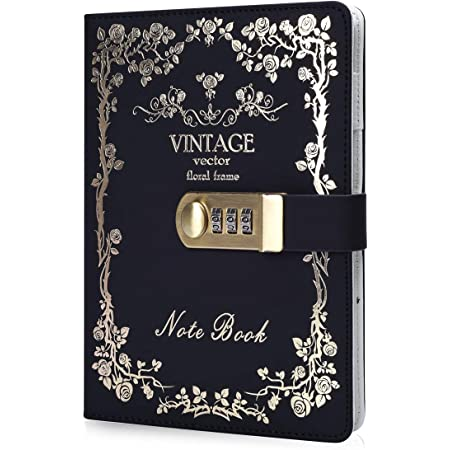 Digital Password Journal Combination Lock Diary Locking A6 Refillable Leather Journal Golden