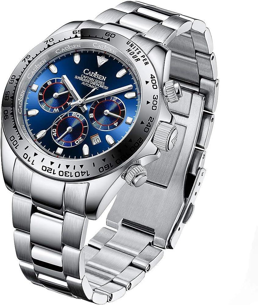 キャンペーンもお見逃しなく CADISEN Fashion Men's Automatic 無料サンプルOK Watches Men Steel Mech Stainless