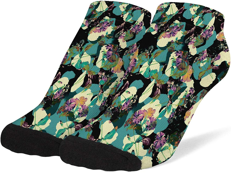 Women Camouflage Flower Pattern Socks Cotton No Show Low Cut Socks Ankle Socks