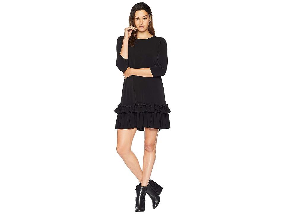 eci Solid 3/4 Sleeve Moss Crepe Ruffle Hem Dress (Black) Women