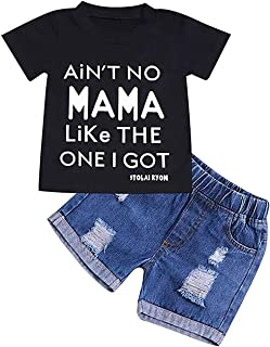 Toddler Baby Girls Boys Clothes Kid Short Sleeve T-Shirt and Denim Short Pants Outfits Set