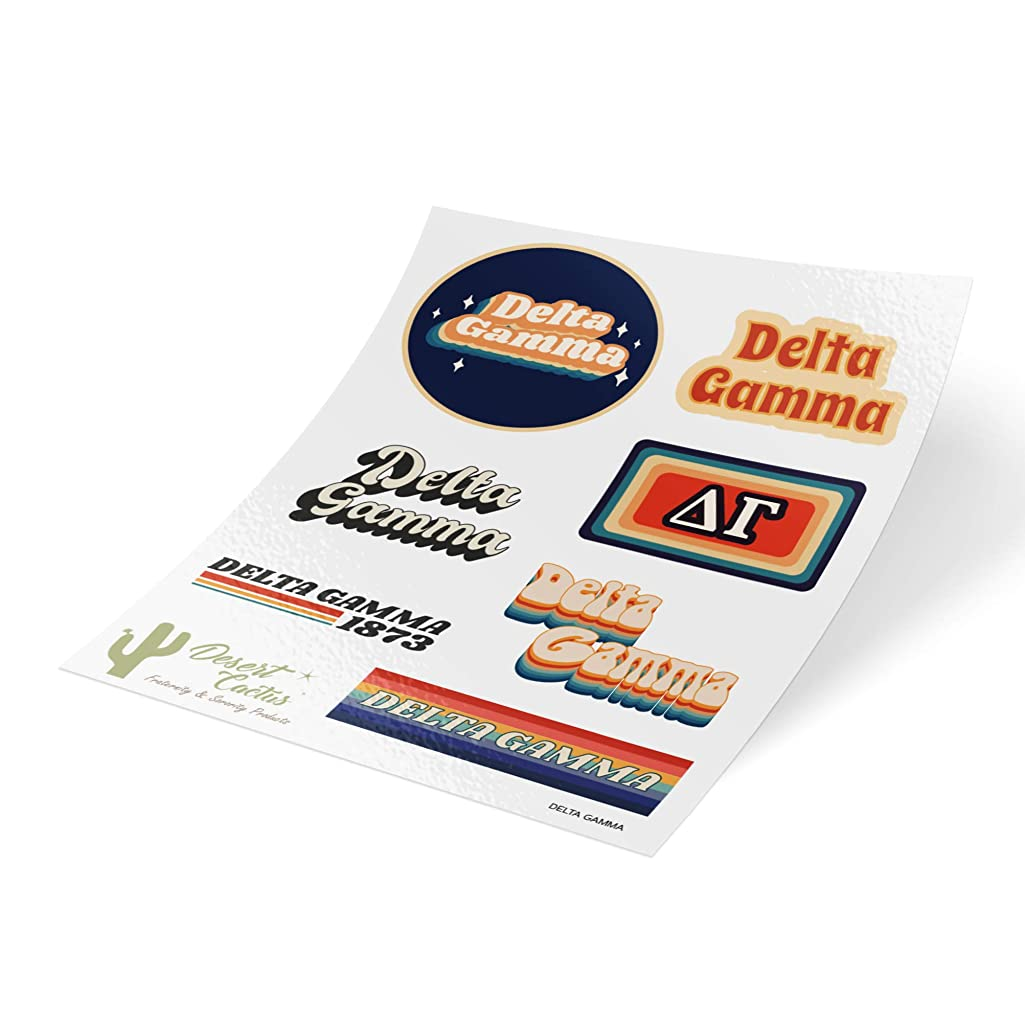 Delta Gamma 70's Themed Sticker Sheet Decal Laptop Water Bottle Car dg (Full Sheet - 70's)