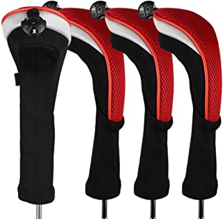 FINGER TEN Golf Club Head Covers Woods Hybrids Value 2/3/4 Pack, Headcovers Men Women 3 5 7 X with Interchangeable Number Tag, Fit All Wood Hybrid Clubs