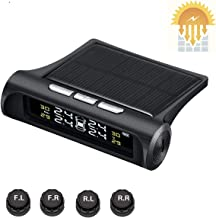 EZoneTronics Universal Solar Power TPMS, Wireless Tire Pressure Monitoring System with 4 DIY External Cap Sensors (0-6.8Bar/0-99Psi), Real-time Displays 4 Tires' Pressure and Temperature TPMS01