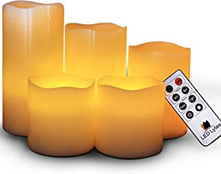 LED Lytes Flameless Candles, Set of 5 Ivory Wax Pillar Candle with Flickering Amber Flame and Timer Remote Control Battery Operated Candles for Weddings and Gift Ideas