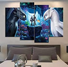 XIAOAGIAO 5 Canvas Paintings Canvas Printed Wall Artwork How To Train Your Dragon Pictures Animation Poster Home Decor Painting Living Room Modular Framework
