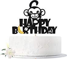 Glitter Happy Birthday Cake Topper with Monkey, Fun Cake Decorating for Birthday Theme Party Decoration Supplies