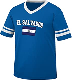 Amdesco Flag of El Salvador Men's Retro Soccer Ringer T-Shirt