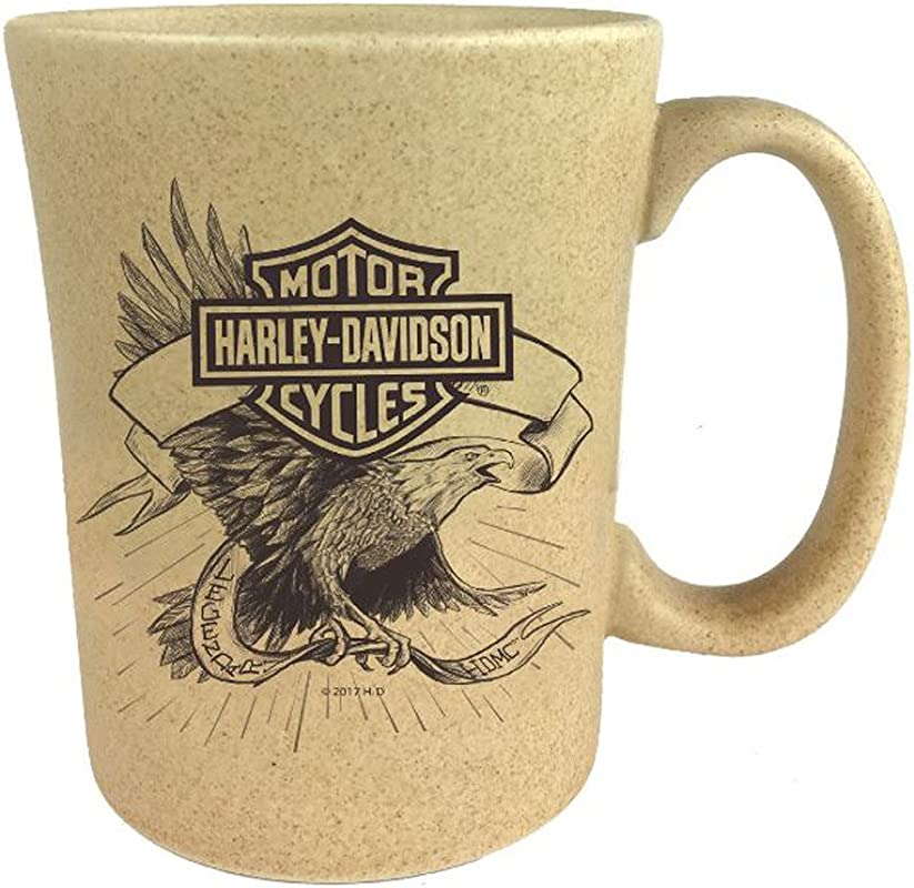 Harley Davidson Speckle B S Eagle Ceramic Coffee Cup Natural 15 Oz 3SMN4907