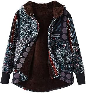 Womens Winter Warm Coats Vintage Print Fleece Thick Hooded Jacket Coat Plus Size Hasp Coats Outwear