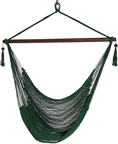 lowest Sunnydaze Hanging Rope Hammock Chair Swing - Caribbean Style Extra Large Hanging Chair for Backyard & 2021 sale Patio - Green outlet online sale