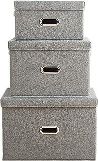 Jasinber Set de 3 Cajas de almacenamiento plegables con tapas, Organizador de contenedores de almacenamiento de tela de li...