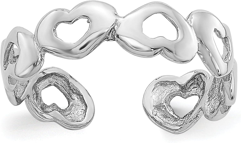 14k White Gold Open Hearts Toe Ring