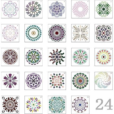 stencil per pittura riutilizzabili Mandala Punteggiatura modello Plastica Disegno Pittura Modello di Stencil per Scrapbook Pareti DIY Decorazione(15x15cm) Stencil mandala da 16 confezioni