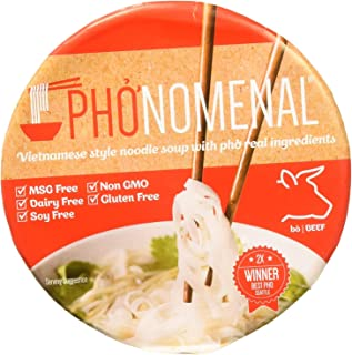Pho'nomenal Bowl Instant Pho Noodles Gluten Free Low Sodium Vietnamese Beef Soup, No MSG, Authentic Family Recipe, Non GMO...