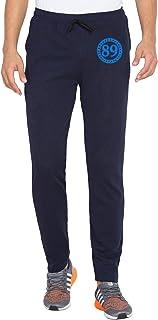 American-Elm Printed Navy Blue Dri Fit Slim Fit Running Track Pant for Men
