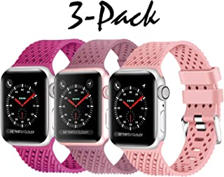 Lwsengme Compatible with Apple Watch Band 38mm 42mm 40mm 44mm Multi-Colors Rubber Replacement Sport Wristbands for iwatch Series 4/3/2/1(S/M M/L)