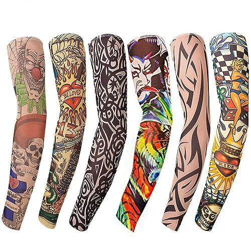 74568bad7 Fake tattoos sleeves (6 Pcs)- Nylon Stretch Elastic Temporary Tattoo Arm  Sleeves -