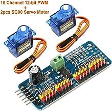 Seamuing PCA9685 16 Channel 12-Bit PWM Servo Motor Driver IIC Module and 2pcs SG90 9G Micro Servo Motor for Arduino Robot