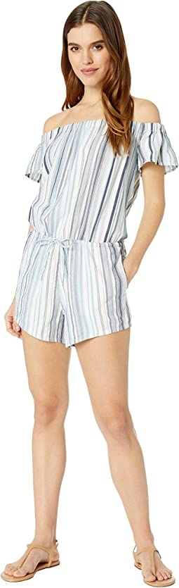Line Of Sight Off the Shoulder Romper Cover-Up