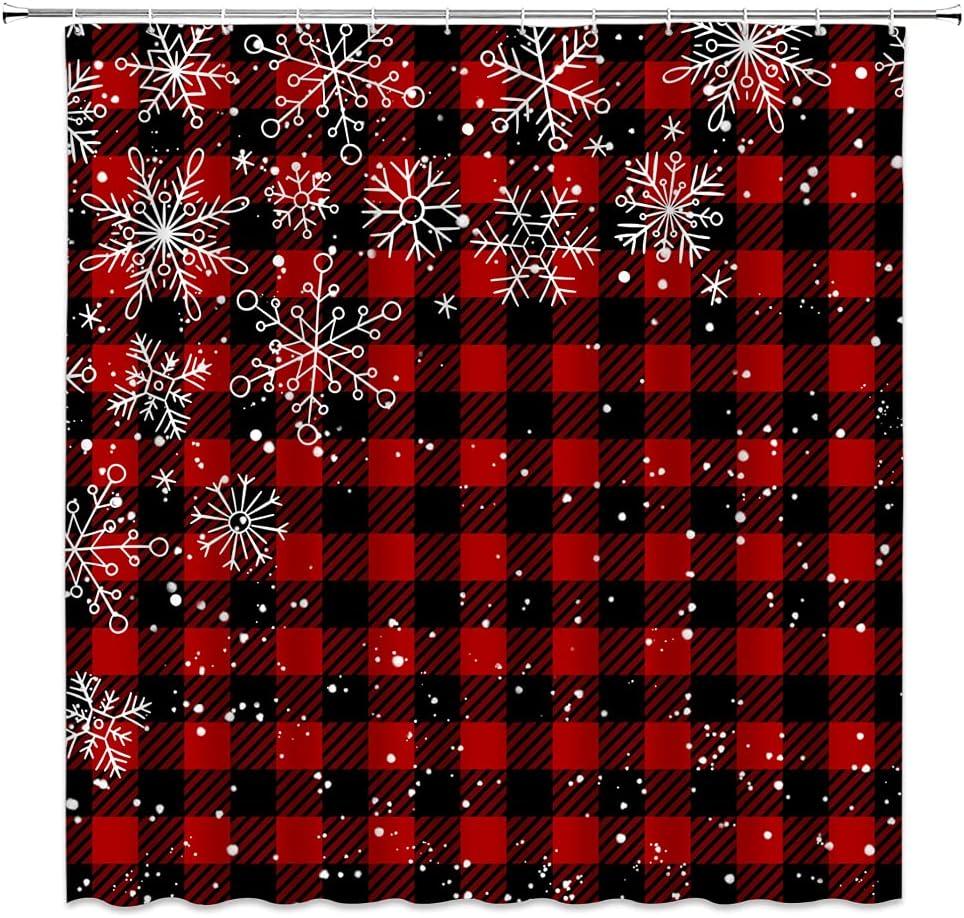 Merry Christmas Shower Curtain San Antonio Mall Red Check Plaid Arlington Mall Black Sno Buffalo