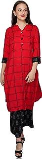 METRO-FASHION Women Straight Rayon Kurta(Red)