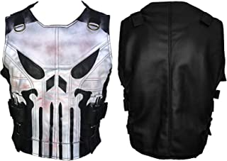 Men's Skull Logo War Black Biker Style Tactical Leather Vest Jacket