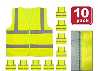 SAFE HANDLER Reflective Safety Vest | Lightweight and Breathable, Fluorescent Fabric, Hook & Loop Closure, Mesh Fabric, X-Large, 10 PACK