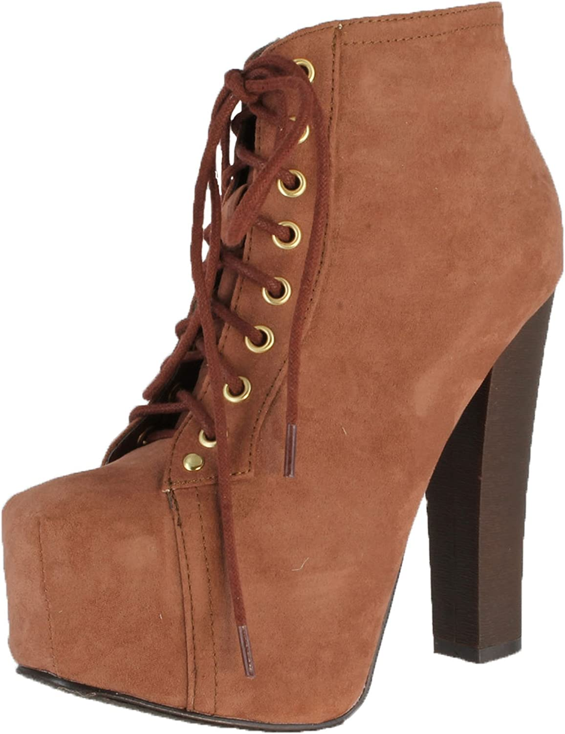 Breckelles Britney-01 Lace Up Wooden Chunky High Heel Ankel Boot Bootie