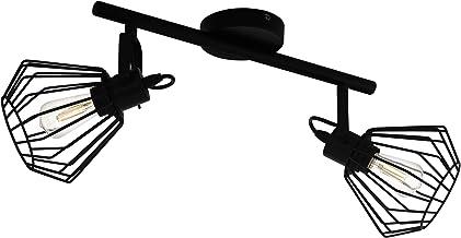 EGLO Tabillano Plafondlamp, 2 vlammige plafondlamp, vintage, industrieel, modern, plafondspot van staal, woonkamerlamp in ...