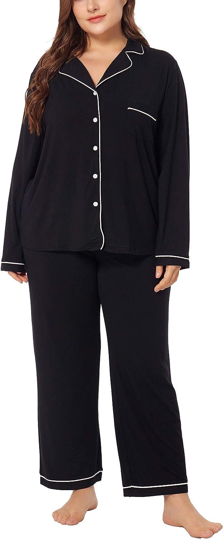 ZERDOCEAN Women's Plus Size Pajamas Set Soft Sleepwear Long Sleeve Button Down Nightwear with Long Pants Pjs Lounge Sets